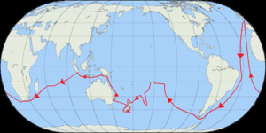 First voyage of James Cook - The route of Cook's first voyage