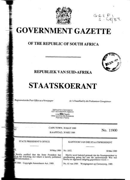 File:Copyright Amendment Act 1989 from Government Gazette.djvu