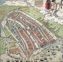 Gravure représentant Amsterdam en 1544