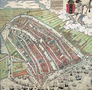 Amsterdam - A woodcut depicting Amsterdam as of 1544; the famous Grachtengordel had not yet been established
