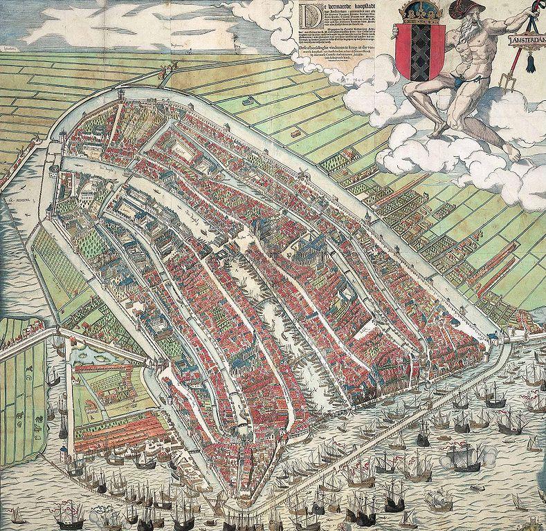 Plan d'Amsterdam vers 1560 réalisé par Cornelis Anthonisz, Den Waag apparaît à gauche contre les champs à l'extérieur de la ville.