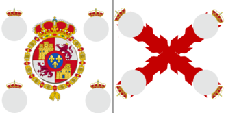 "Cross of Burgundy - Banner of the foot regiments of the Spanish army: ""Coronela"" (King's Colour) with the Royal Crest of Spain (carried by the first battalion), and ""Ordenanza"" or ""Batallona"" (Battalion's Colour) with the Burgundian cross (carried by the second and third battalions); with four little coats-of-arms of the place for which it is named. If the battalions were merged by any reason, the Coronela and Batallona flags could be joined in a sole flag with the Royal Crest over the saltire. The flags with the Royal Crest of Ferdinand VII were used by the Spaniards in the Peninsular War and in the Spanish American wars of independence."