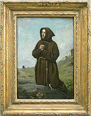 Franciscan monk kneeling