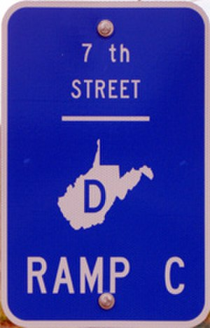 Corridor D - Corridor D ramp marker in Parkersburg, West Virginia showing the symbol WVDOH uses for Appalachian Corridor mile and ramp markers.