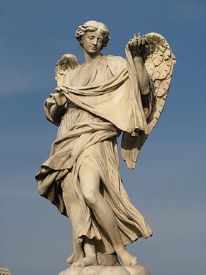 Cosimo Fancelli - Sculpture of Angel bearing Veronica's Veil by Cosimo Fancelli at Ponte Sant Angelo.