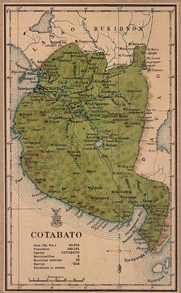 An old map showing the present territories of Sarangani as part of the Province of Cotabato in 1918 Cotabato province 1918 map.JPG