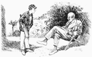 "Young Cricketer. ""Yes, I cocked one off the splice in the gully and the blighter gathered it."" Father. ""Yes, but how did you get out? Were you caught, stumped or bowled, or what?"" Cartoon from Punch, 21 July 1920."
