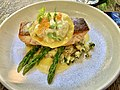 Crispy skin salmon fillet with caper crushed potato at Hunter & Scout Café, Graceville, Queensland.jpg