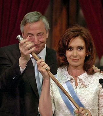 Cristina Fernández and Néstor Kirchner occupied the presidency of Argentina for 12 years, him from 2003 to 2007 and her from 2007 to 2015. Cristina con baston de mando.jpg