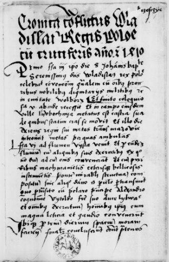 Battle of Grunwald - The most important source about the Battle of Grunwald is Cronica conflictus Wladislai regis Poloniae cum Cruciferis anno Christi 1410