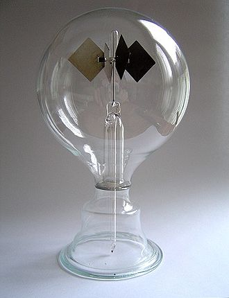 Radiometer - An example of a Crookes radiometer. The vanes rotate when exposed to light, with faster rotation for more intense light, providing a quantitative measurement of electromagnetic radiation intensity.