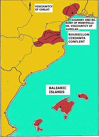 The Crown of Mallorca lay off the eastern coast of modern Spain and on the southern coast of modern France.