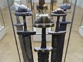 Cultural History (historisk) Museum Oslo. VIKINGR Norwegian Viking-Age Exhibition 11 Elaborate swords, decorated hilts, ornated blades, home-forged and foreign-made, ca 800-1000. Found in Telemark, Nordland, Hedmark. 4706.jpg
