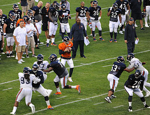 2014 Chicago Bears season - Jay Cutler prepares to pass during the Family Fest at Soldier Field