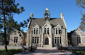 Colorado College - Cutler Hall, located at 912 North Cascade Avenue, on the Colorado College campus, in Colorado Springs, Colorado. The property is listed on the National Register of Historic Places.