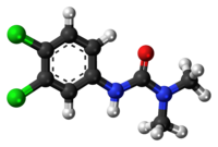 Ball-and-stick model of the DCMU molecule