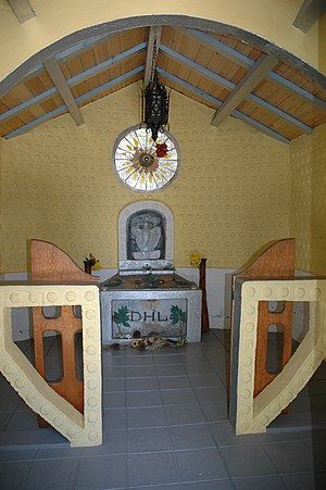 D. H. Lawrence Ranch - Interior of the Lawrence Memorial, with the stone containing the initials D.H.L.