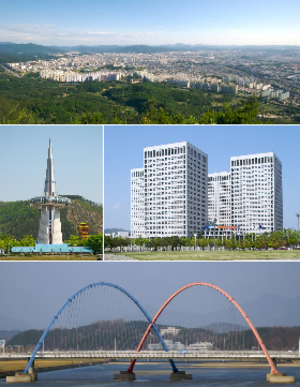 Daejeon - Top:Panorama view of Expo Gwahakgongwon Park and downtown Dunsandong area, Middle left:Hanbit Tower in Daejeon Expo Science Park, Middle right:Daejeon Government Complex area in Jung-gu, Bottom:Expo Dari Bridge