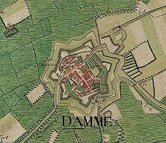 Damme - Image: Damme, Belgium ; Ferraris Map