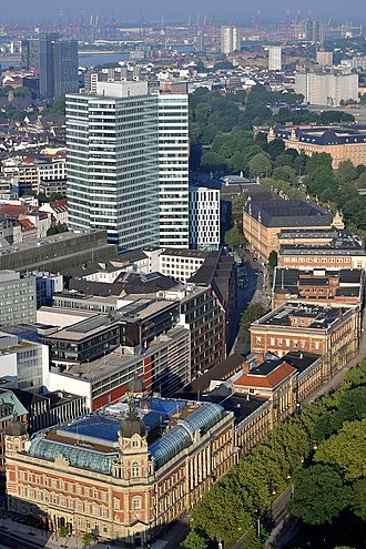 Hamburg Wallring -  View of Neustadt's western Wallring.  In the background: Elbe and port