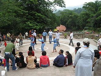 Rock Garden, Darjeeling - Tourists enjoying Gorkha folk dances at Ganga Maya Park
