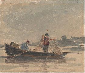 Fishermen Drawing a Net