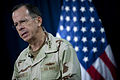 Defense.gov News Photo 100727-N-0696M-284 - Chairman of the Joint Chiefs of Staff Adm. Mike Mullen U.S. Navy addresses the media at the Combined Press Information Center in Baghdad Iraq.jpg