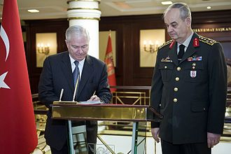 Ergenekon (allegation) - Turkish Chief of General Staff Gen. İlker Başbuğ with U.S. Defense Secretary Robert Gates. Başbuğ was sentenced to life imprisonment as part of the Ergenekon trials.