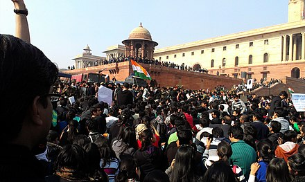 Students protest at Raisina Hill, Rajpath, New Delhi Delhi protests-students, Raisina Hill.jpg