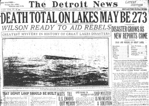Great Lakes Storm of 1913 - The Detroit News storm headlines, November 13, 1913.
