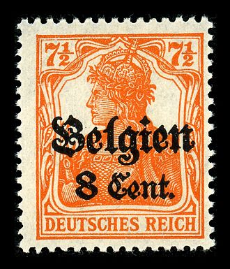 Postage stamps and postal history of Belgium - Image: Deutsches Reich Belgien
