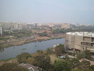 Water issues in developing countries - Runoff from development along the river in Pune, India could contribute to reduced water quality.