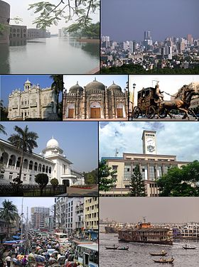 From top: 1. National Parliament, 2. Motijheel skyline, 3. Rose Garden Palace, 4. Khan Mohammad Mridha Mosque, 5. 'Rajoshik Bihar' sculpture in Ramna, 6. Supreme Court of Bangladesh, 7. RAJUK Bhaban, 8. Rickshaws on Dhaka Street, 9. Steamers and ferries on the Sadarghat, Dhaka Riverfront