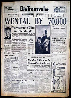 South African republic referendum, 1960 - Front page of Die Transvaler, 7 October 1960, announcing republican victory by 70 000 votes