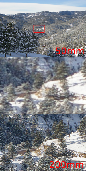 Digital zoom - Digital zoom was used to make the middle photo from the top photo, image quality is lost, while the lens was zoomed-in optically for the bottom photo, no quality is lost. Typically, the digital zoom would not be available until after the optical zoom had been exhausted.