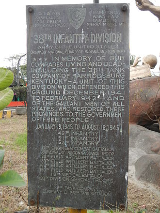 38th Infantry Division (United States) - Historical marker (38th Infantry Division, Battle of Bataan, Layac Junction).