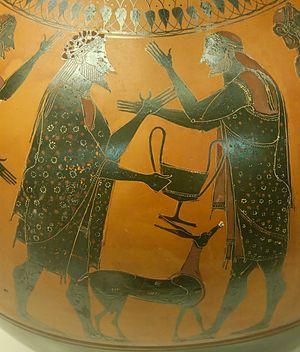 Affecter - Dionysos and Ikarios on an amphora found at Vulci, British Museum (GR 1836.2–24.46).