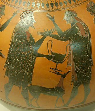 The Affecter - Dionysos and Ikarios on an amphora found at Vulci, British Museum (GR 1836.2–24.46).