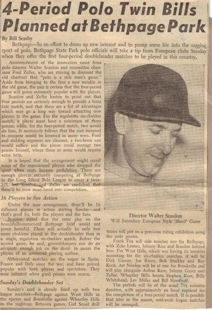Director Walter Scanlon. Bethpage, LI - Newspaper polo article.