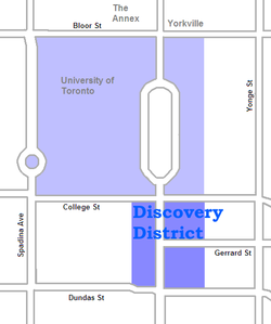 The area on University Avenue is the core of the Discovery District. The campus of the University of Toronto to the north can also be included