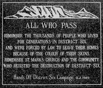 District Six Memory Plaque at the Moravian Chu...