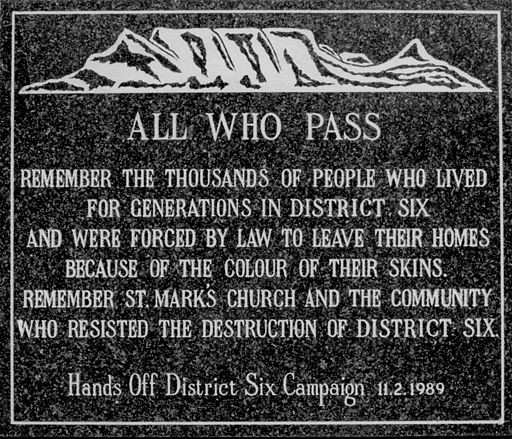 District Six Memory Plaque at the Moravian Church in District Six, Cape Town, South Africa. It commemorates the victims of apartheid-era forced removals through the racially divisive Group Areas Act. Picture by Henry Trotter, 2000.