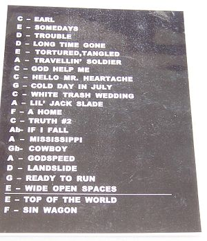 "Set list - 9"" × 12"" laminate set list from a Dixie Chicks concert in 2003. In this instance, the keys the songs are played in are also given.  The horizontal line (or a wide blank space) near the bottom delineates the encore."