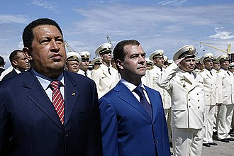 Russian destroyer Admiral Chabanenko - Venezuelan President Hugo Chavez and Russian President Dmitry Medvedev on board Admiral Chabanenko in 2008.