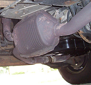 Catalytic converter - A three-way catalytic converter on a gasoline-powered 1996 Dodge Ram