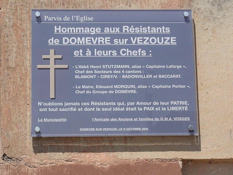 Domèvre-sur-Vezouze (M-et-M) mémorial résistants