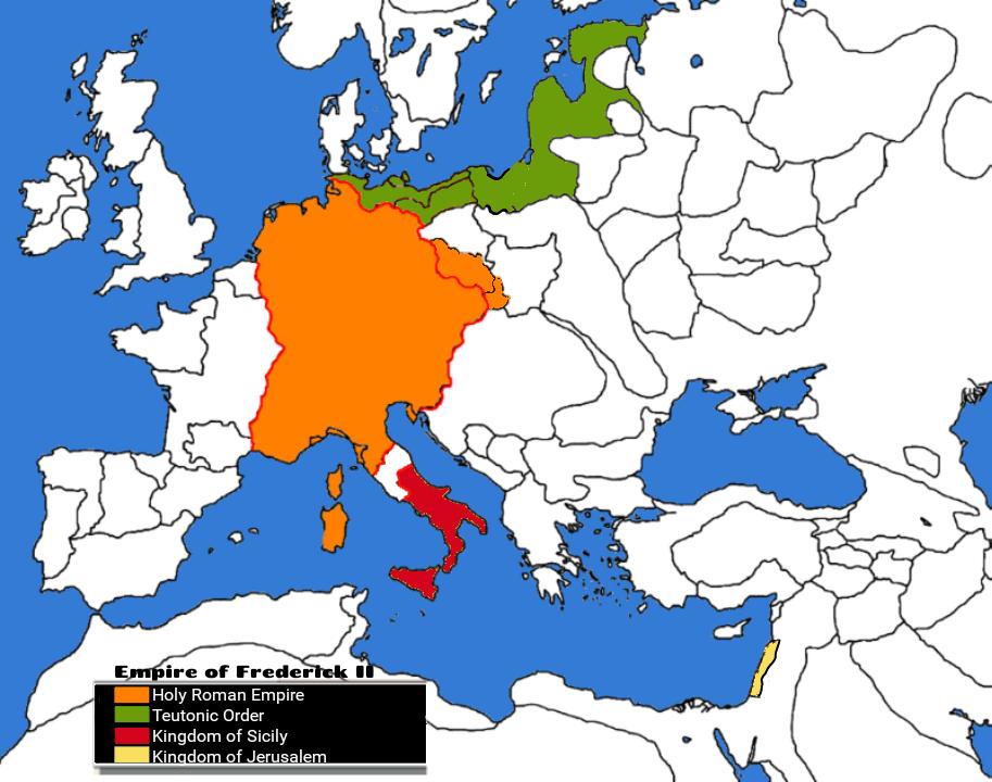 Dominions of Friedrick II (Kingdom of Sicily, Holy Roman Empire, Kingdom of Jerusalem)