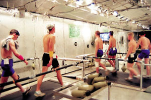 Doriot Climatic Chambers - Human volunteers endure treadmill sessions at the Doriot Climatic Chambers.
