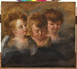 Three angel heads in clouds (right panel)