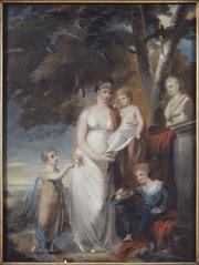 Drottning Fredrik(a?) med sina barn